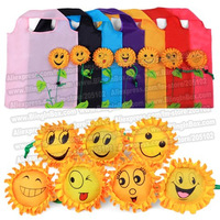 Mixed sun flower faces sales! 15pcs/lot shopping sun flower foldable bag,Eco-friendly handle Bag in many colors mixed available