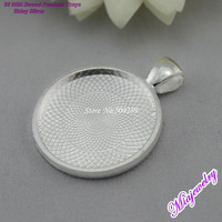 Free Shipping Fashion Jewelry Base Settings 100pcs/lot Shiny Silver 28mm Round Blank Pendant Trays For Necklaces Making