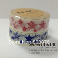15mm*10m 2 rolls/lot Lovely stars decoration tape color printing and paper  sticker album