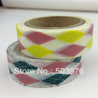 2 rolls/lot 15mm*10m Pink Yellow And Black Pink Double Color Compose Washi tape Set Decorative Christmas Tape