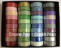 40 rolls/lot 15mm*10m Dot Polka Stripe More Kind More Color Washi Paper Tape Set