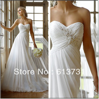 Elegant Sweetheart Beading Pleated Chiffon Wedding Dresses 2014 New Arrival Free Shipping Weddings & Events Gown 5757