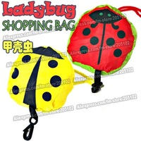 nice gift !15pcs/lot new ladybug beetle insect  folding fabric shopping bag in yellow&red colors mixed sales foldable handle bag