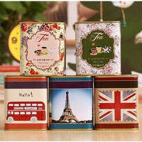 2014 NEW vintage small tin box 5pcs/set 7.5x7.55x9cm tea boxes Coffee box
