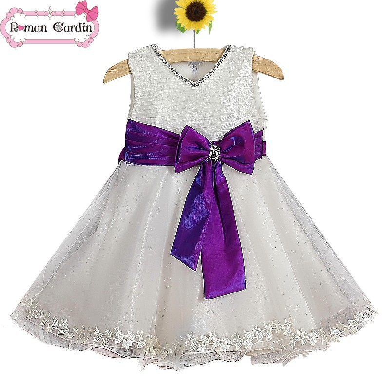 new design kids dress 2-10 year olds girls dress lace bridal purple and white wedding dress01