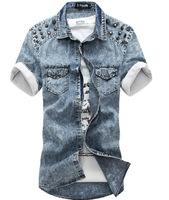 Mens Fashion Retro snowflake rivet Cotton casual shirt short-sleeved denim Slim fit men's Tops shirt 2014 spring summer hot