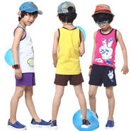 Fashion-Cute-Cartoon-Printing-Children-Summer-Set-Size-100-140-cm-Casual-Sleeveless-Tops-Shorts-Boy