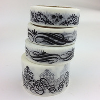 15mm*10m+30mm*10m 4pcs/roll Black-and-white aesthetic style laciness paper tape set decoration scrapbooking album photo