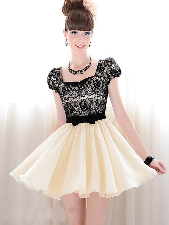 Nice-quality-Promotion--Summer-Fashion-womens-dress-beige-vintage-dress-with-lace-and-short-sleeves