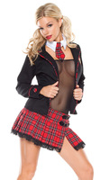 Japan Cosplay Costume Naughty Sexy Schoolgirl Plaid Uniform Halloween Costume Outfit Matching with Fishnet Bra+Skirt+ Jecket+Tie