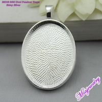 Free Shipping 30x40MM Blank Pendant Trays 100pcs/lot Shiny Silver Oval Glass Cabochon Pendants Settings Fashion Jewelry