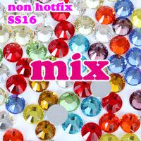 SS16 3.8-4mm, Mix Colors Nail Crystals 1440pcs/bag Glass Non HotFix FlatBack Rhinestones,not hot fix Glitters loose stones DIY
