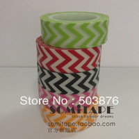 15mm*10m  5 rolls/lot Monochrome and color wavy paper tape stripe series 5 pieces gift tape sticker album