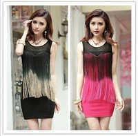 2014 new Europe and the United States  gauze tassel sexy  wrapped hip  performance nightclub small formal attire dress