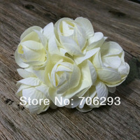 2014 NEW 4.5-5cm (36pcs/lot) head ivory Mulberry Flower Bouquet/wire stem/ Scrapbooking artificial cloth rose flowers