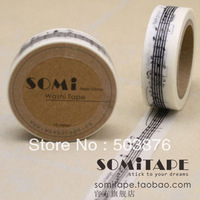 15mm*10m  2 rolls/lot Both Staff and Notes togather sale decorative washi tape (White and Yellow Color) sticker album