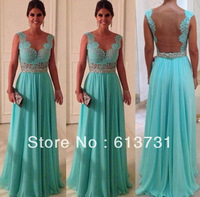 Hot Sale Sheath Sweetheart Beadings Nude Back Blue Lace Chiffon 2013 Sexy Long Evening Dresses WD0224
