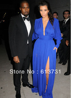 2013 Kim Kardashian Deep V Neck Long Sleeve Royal Blue Front Slit Floor Length Red Carpet Celebrity Dresses Evening Gown  B01215