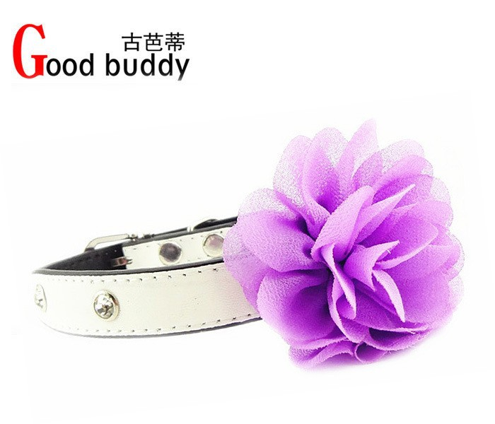 white-bling-puppy-doggie-cat-collars-pu-with-big-lace-flowers-S-M-3colours