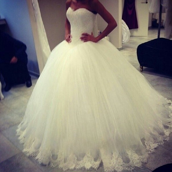 Free Shipping Latest Designer A-line White Ivory Strapless Sweetheart Lace Tulle Wedding Dress Bridal Gowns 2014