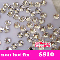Factory Direct Sale ! crystal clear color SS10 non hot fix flatback rhinestone Not Hotfix  without glue for nail wedding dress