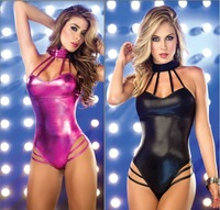 Bandage bronzing neck ring Europe America exports patent leather dress clubwear dresses nightclub pole sliver bodysuit lingerie