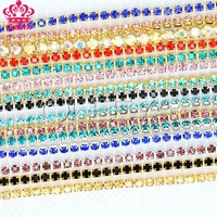Free shipping 10yard/roll ss12 mixed 10 color rhinestones cup chain with golden adn silver claw, crystal garment accessories