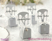 72pcs Miniature Silver Chair Favor Box w/ Heart Charm & Ribbon BETER-TH002/A