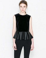 New Womens Fashion Elegant O-Neck Sleeveless Tops Stitching cotton Pu Leather slim Fit casual Blouse