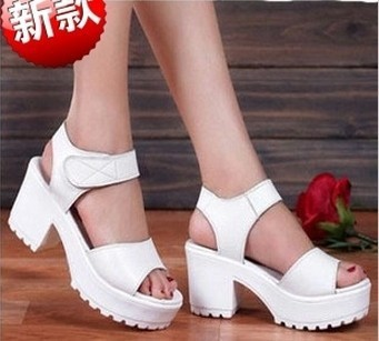 ENMAYER-Genuine-Leather-Sandal-Pumps-for-Woman-2014-Platform-Thick-Heel-Velcro-Open-Toe-White-Black