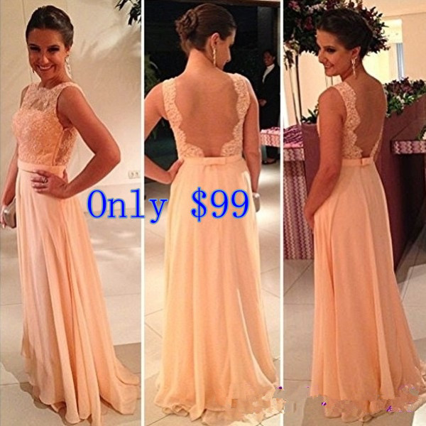 vestido de dama de honra Free Shipping New Fashion Best Selling Chiffon Pretty Nude Back Lace Peach Long Bridesmaid Dress