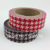 2 rolls/lot 15mm*10m Red and Coffee Color Washi Tape Set Grid Texture Mask Pattern Christmas Gift  Single side Tape