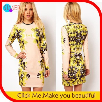 2013-Women-s-Cotton-Print-Floral-Mini-Pencil-Dress-Sexy