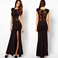 Womens Sexy Back Perspective Black Lace Stitching Slim Fit Nightclub Party Long Dress Slit Bodycon Dress Invisible Zipper