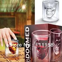 84 PCS Fedex Free Shipping, 2013 Creative Crystal Skull Head Vodka Shot Glass, Novelty Skeleton Head Wineglass Cup For Whiskey
