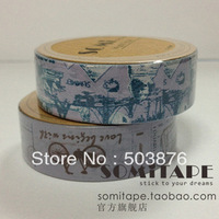 15mm*10m 2 rolls/lot retro style bicycle styles and ancient ship with paper tape sticker album