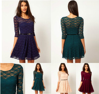 New Spring 2014 Sexy Women Round Neck 3/4 Sleeve Vest Pleated lace Casual Sun summer Party Mini Dress