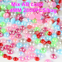 Free shipping 2500pcs/bag 4mm MIXED AB color imitation pearl loose imitation ABS pearl beads for DIY Nail Art Phone