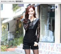 New Womens Fashion Elegant shirt O-Neck Long Sleeve Tops lace Pu Leather Patchwork slim Fit casual T-shirt