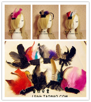 Supernova sale 8Color fashion hand made feather fascinator hair accessories for women hair clips hair bows alligator clips