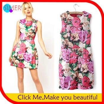 Women-s-Fashion-Print-Flower-Dress
