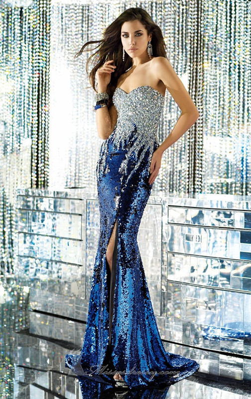 2014 Newly Design Mermaid Sweetheart Beaded Sequin Cut Side Prom Dress