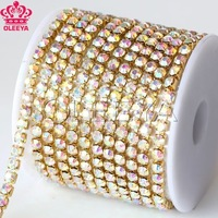 Free shipping 10yard/roll ss12 crystal AB rhinestone cup chian silver base stones and crystals for wedding decoration