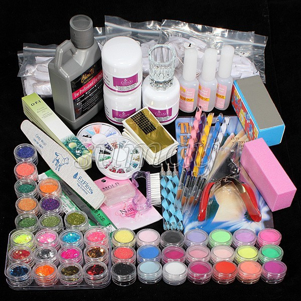 Free-Shipping-60-Acrylic-Powder-Liquid-Brush-Glitter-Clipper-Primer-File-Nail-Art-Tips-Set-Kit