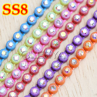 SS8 Neon rhinestone banding ,Colorful AB Rhinestone Triming,Total 6 bright colors,AB Rhinestone Cup Chain