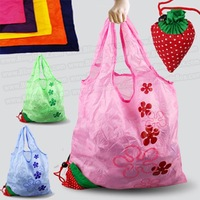 15pcs/lot straw berry fruit shopping bag ,many colors mixed available Eco-friendly foldable folding handle Bag+free shipping