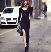 2014 new Spring summer European and American women dress sexy  package hip split one pace Modal Bohemian dress