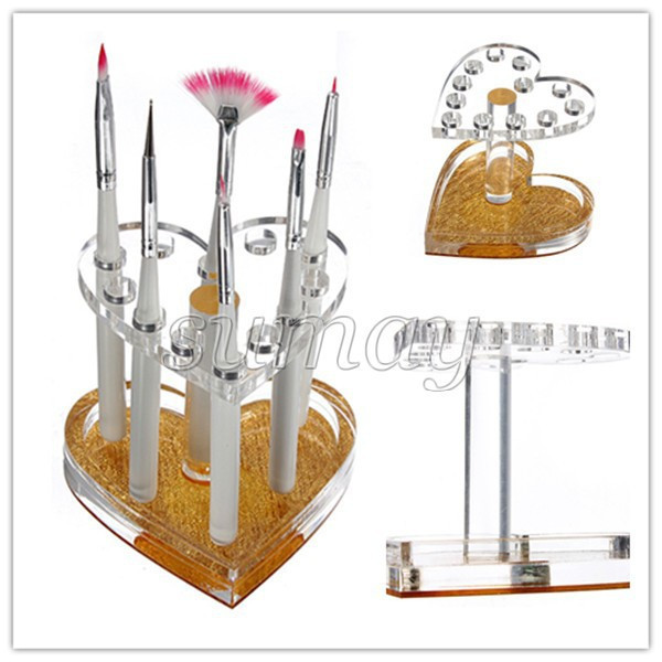 Free-Shipping-Makeup-Nail-12-Holes-Acrylic-Gel-Brush-Pen-Holder-Heart-Gold-Rest-Stand-Display