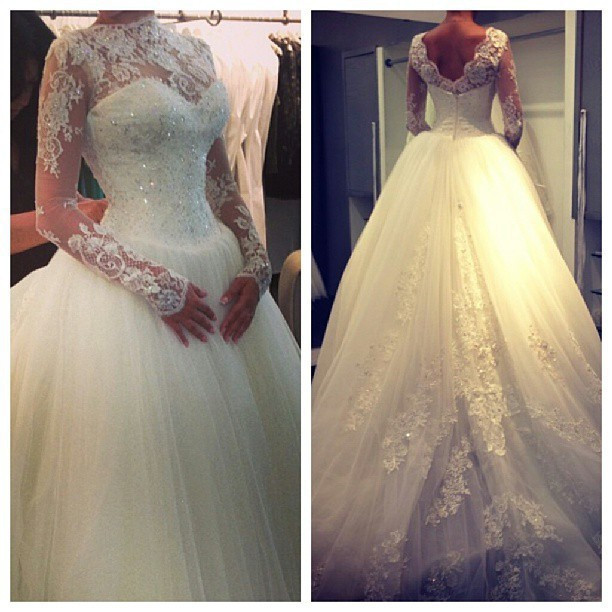 2014 Fashion New High Collar Long Sleeves Beaded Lace Appliqued Elegant Chapel Train Muslim Bridal Wedding Gown