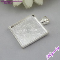 2013 Wholesale Fashion  Jewelry Findings 500pcs/lot 25mm Square Shiny Silver Alloy  Blank Pendant Tray  For Jewelry Making